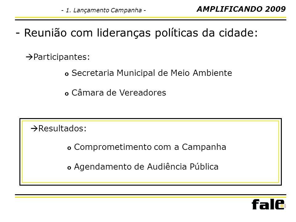 Participantes: - Reunião com lideranças políticas da cidade: Resultados: o Secretaria Municipal de Meio Ambiente o Câmara de Vereadores o Comprometimento com a Campanha o Agendamento de Audiência Pública AMPLIFICANDO 2009 - 1.