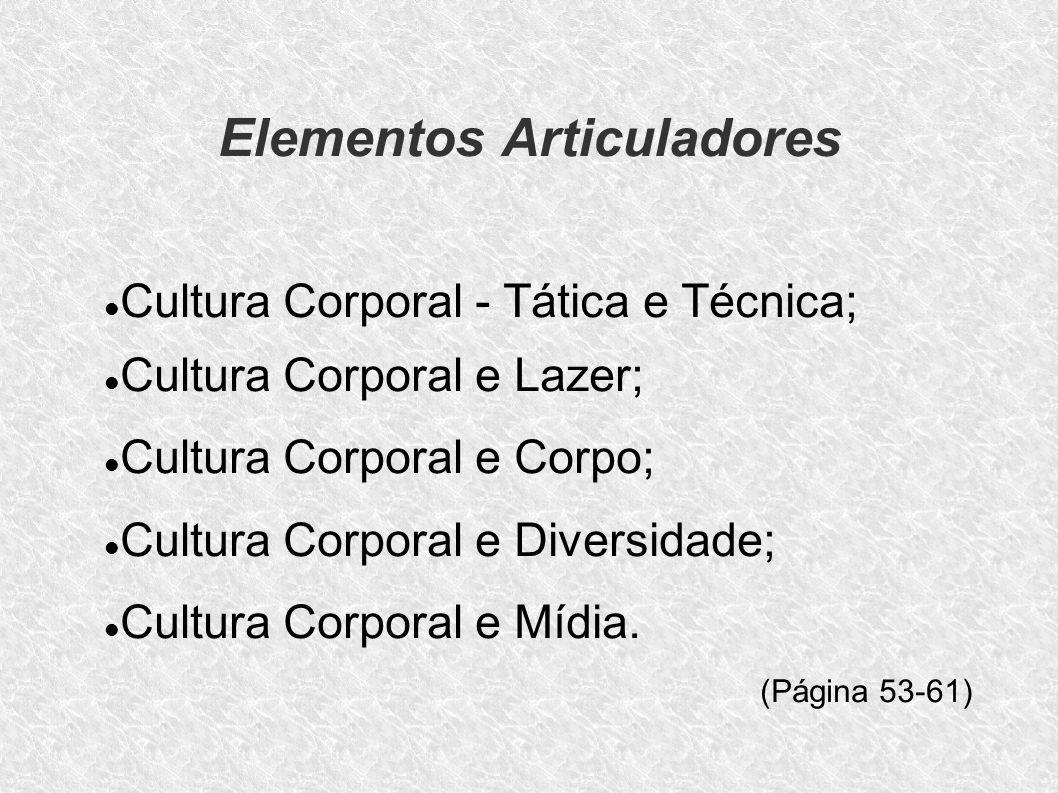 Elementos Articuladores Cultura Corporal - Tática e Técnica; Cultura Corporal e Lazer; Cultura Corporal e Corpo; Cultura Corporal e Diversidade; Cultu