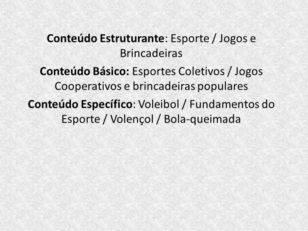 Conteúdo Estruturante: Esporte / Jogos e Brincadeiras Conteúdo Básico: Esportes Coletivos / Jogos Cooperativos e brincadeiras populares Conteúdo Espec