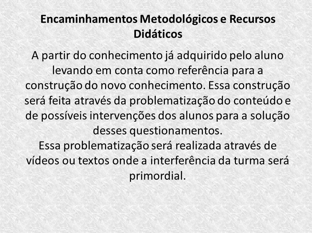 Encaminhamentos Metodológicos e Recursos Didáticos A partir do conhecimento já adquirido pelo aluno levando em conta como referência para a construção