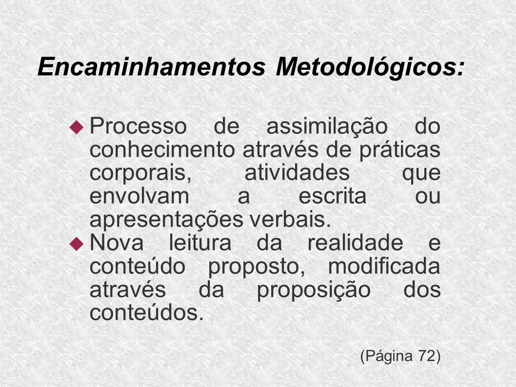 Encaminhamentos Metodológicos: Processo de assimilação do conhecimento através de práticas corporais, atividades que envolvam a escrita ou apresentaçõ