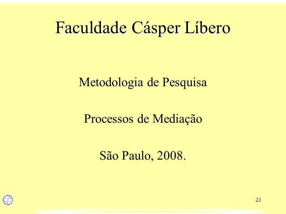 21 Faculdade Cásper Líbero Metodologia de Pesquisa Processos de Mediação São Paulo, 2008.