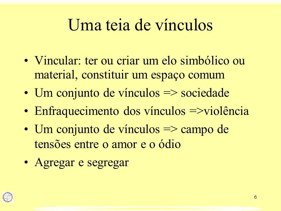 6 Uma teia de vínculos Vincular: ter ou criar um elo simbólico ou material, constituir um espaço comum Um conjunto de vínculos => sociedade Enfraqueci