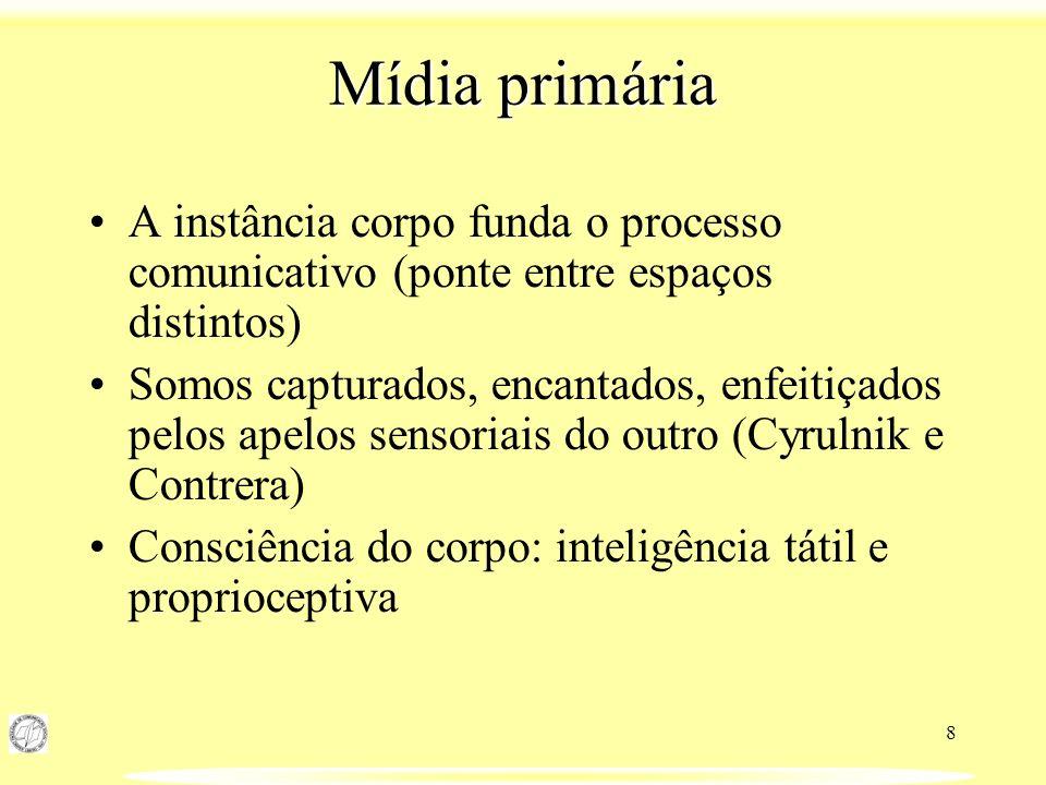 8 Mídia primária A instância corpo funda o processo comunicativo (ponte entre espaços distintos) Somos capturados, encantados, enfeitiçados pelos apel