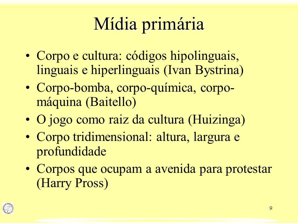 9 Mídia primária Corpo e cultura: códigos hipolinguais, linguais e hiperlinguais (Ivan Bystrina) Corpo-bomba, corpo-química, corpo- máquina (Baitello)