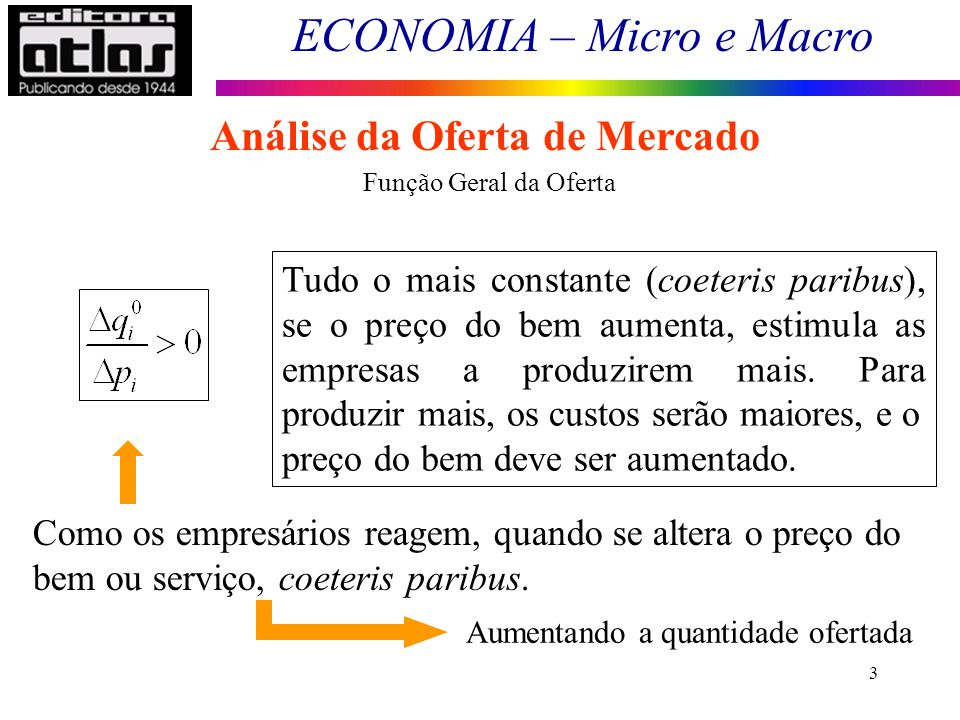 ECONOMIA – Micro e Macro 3 Análise da Oferta de Mercado Tudo o mais constante (coeteris paribus), se o preço do bem aumenta, estimula as empresas a pr