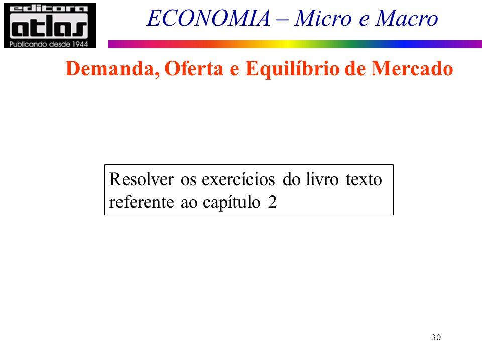 ECONOMIA – Micro e Macro 30 Demanda, Oferta e Equilíbrio de Mercado Resolver os exercícios do livro texto referente ao capítulo 2