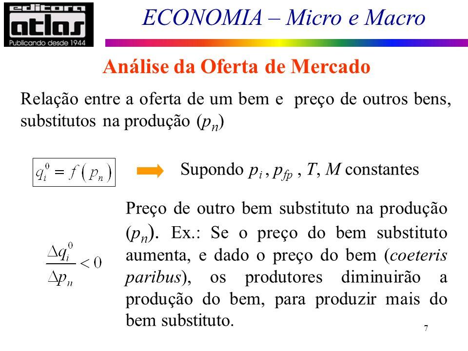 ECONOMIA – Micro e Macro 7 Análise da Oferta de Mercado Relação entre a oferta de um bem e preço de outros bens, substitutos na produção (p n ) Supond