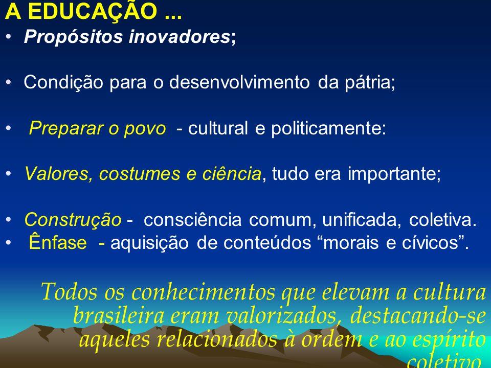 A EDUCAÇÃO... Propósitos inovadores; Condição para o desenvolvimento da pátria; Preparar o povo - cultural e politicamente: Valores, costumes e ciênci