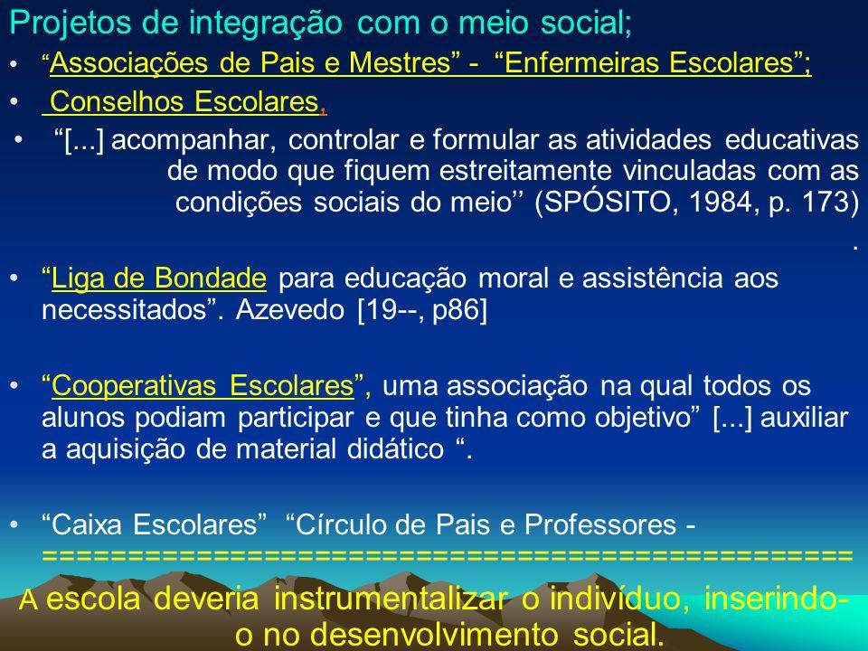 Projetos de integração com o meio social; Associações de Pais e Mestres - Enfermeiras Escolares; Conselhos Escolares, [...] acompanhar, controlar e fo