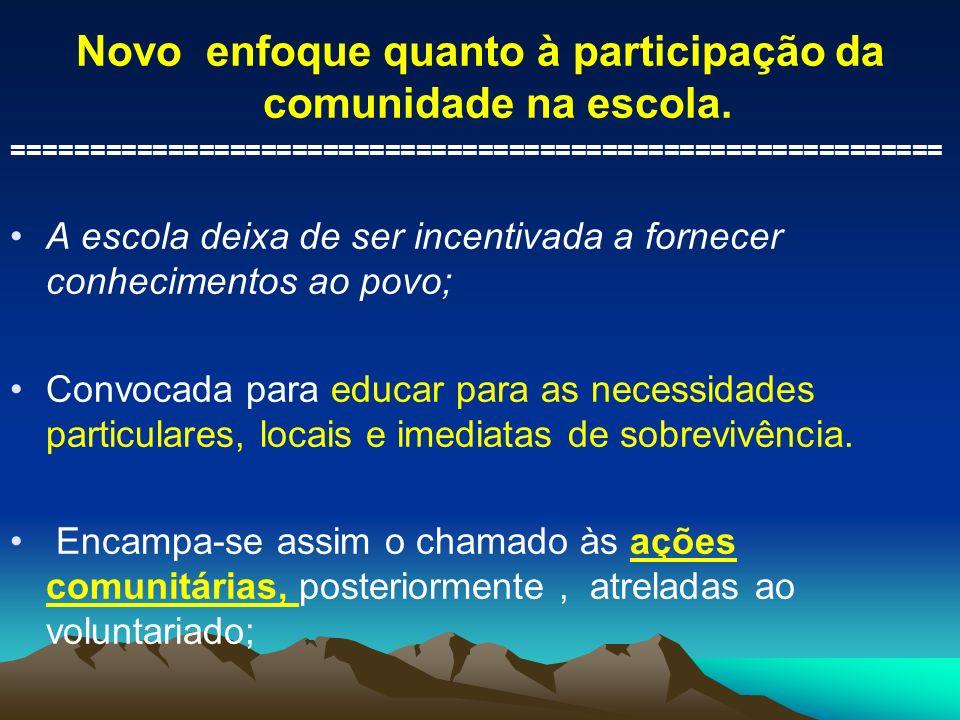 Novo enfoque quanto à participação da comunidade na escola. ============================================================ A escola deixa de ser incenti