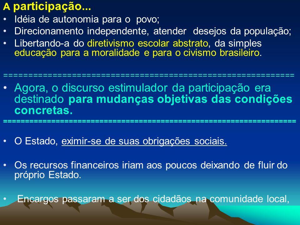 A participação... Idéia de autonomia para o povo; Direcionamento independente, atender desejos da população; Libertando-a do diretivismo escolar abstr