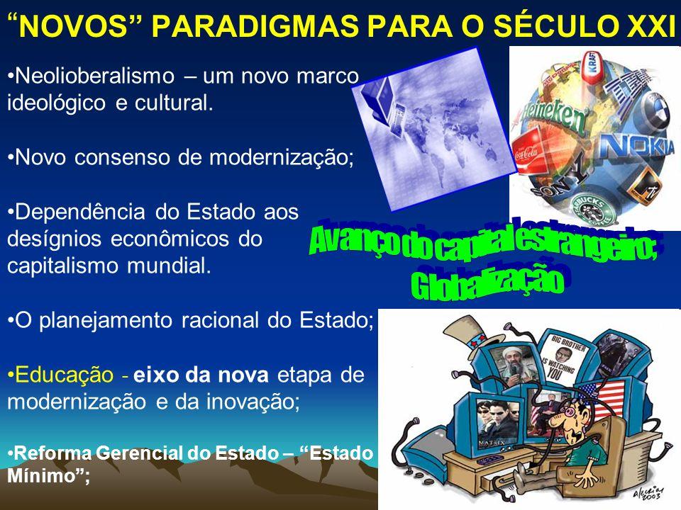 NOVOS PARADIGMAS PARA O SÉCULO XXI Neolioberalismo – um novo marco ideológico e cultural. Novo consenso de modernização; Dependência do Estado aos des