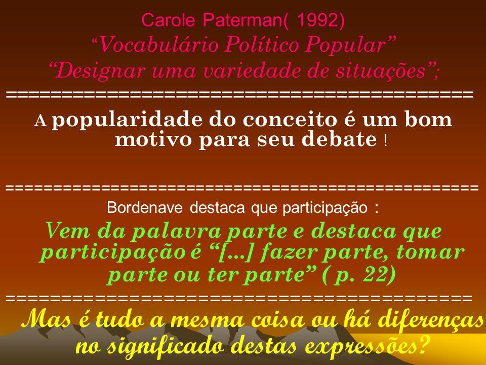 Carole Paterman( 1992) Vocabulário Político Popular Designar uma variedade de situações ; ========================================= A popularidade do
