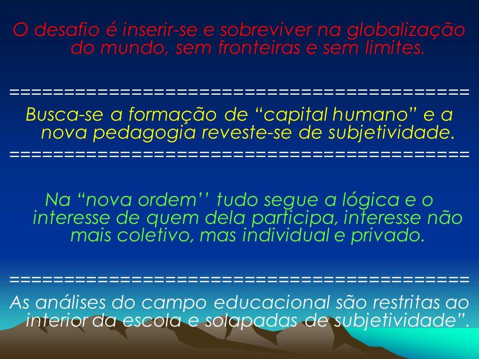 O desafio é inserir-se e sobreviver na globalização do mundo, sem fronteiras e sem limites. ========================================= Busca-se a forma