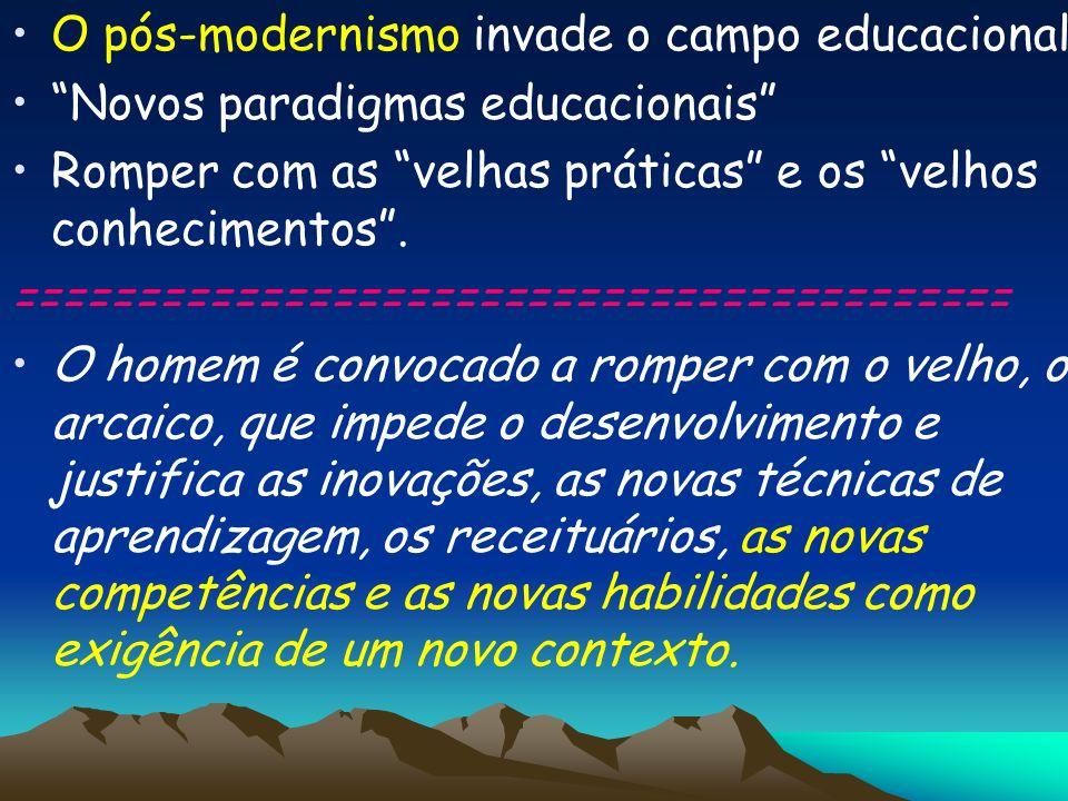 O pós-modernismo invade o campo educacional, Novos paradigmas educacionais Romper com as velhas práticas e os velhos conhecimentos. ==================