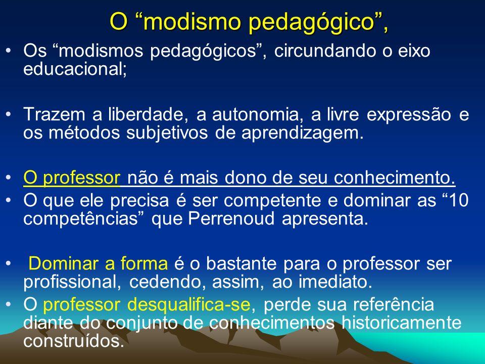 O modismo pedagógico, Os modismos pedagógicos, circundando o eixo educacional; Trazem a liberdade, a autonomia, a livre expressão e os métodos subjeti
