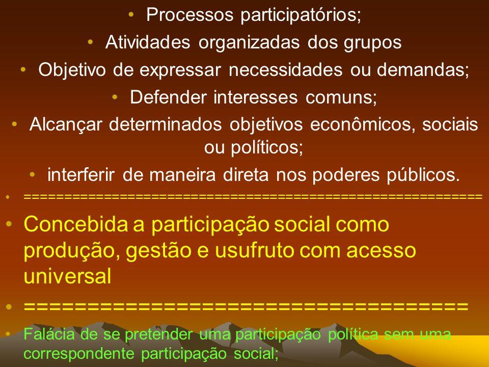 Processos participatórios; Atividades organizadas dos grupos Objetivo de expressar necessidades ou demandas; Defender interesses comuns; Alcançar dete