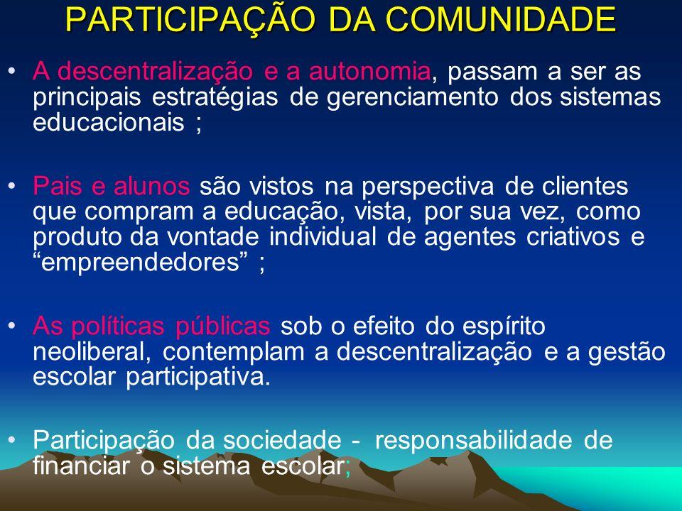 PARTICIPAÇÃO DA COMUNIDADE A descentralização e a autonomia, passam a ser as principais estratégias de gerenciamento dos sistemas educacionais ; Pais