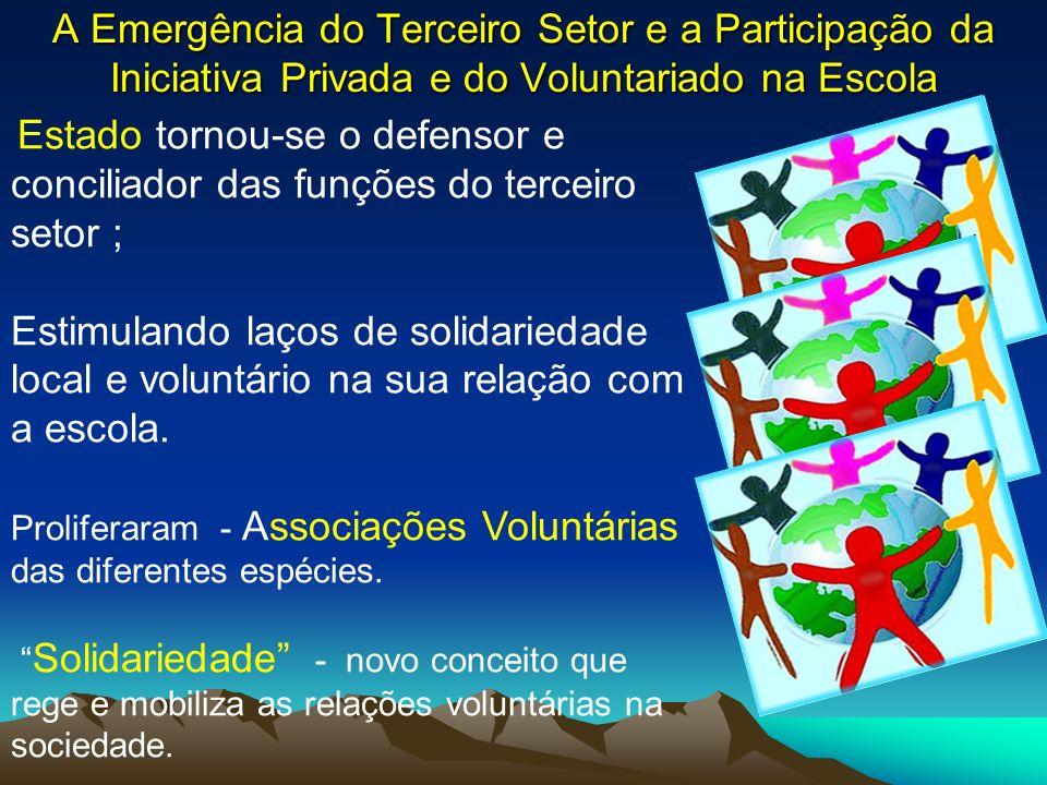 A Emergência do Terceiro Setor e a Participação da Iniciativa Privada e do Voluntariado na Escola Estado tornou-se o defensor e conciliador das funçõe