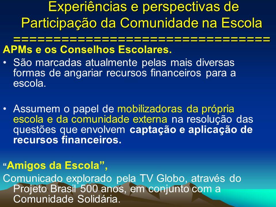 Experiências e perspectivas de Participação da Comunidade na Escola ================================ Experiências e perspectivas de Participação da Co