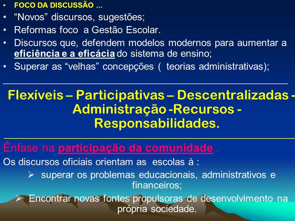 APONTA-SE: Modernas formas de gerenciamento da escola pública; Autonomia financeira, administrativa e pedagógica Foco nas parcerias, contratos Participação ativa da comunidade.