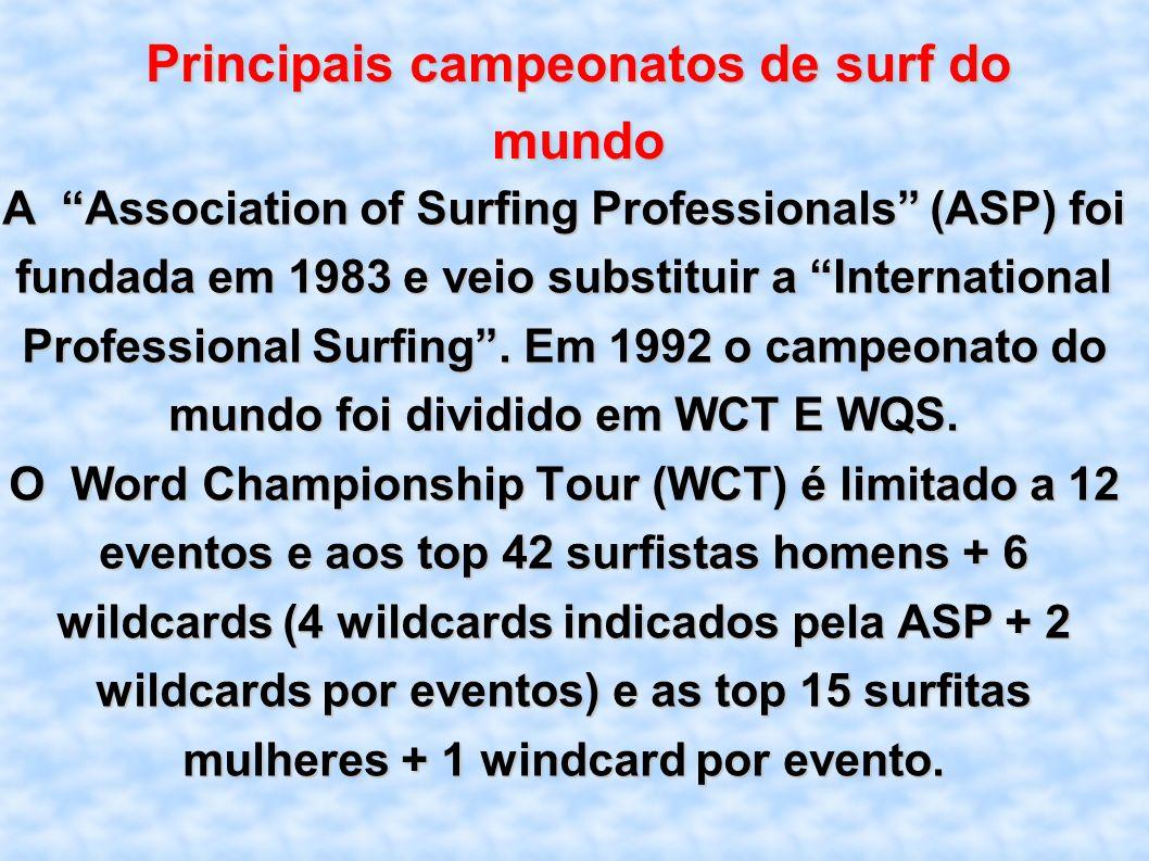 Principais campeonatos de surf do mundo A Association of Surfing Professionals (ASP) foi fundada em 1983 e veio substituir a International Professiona