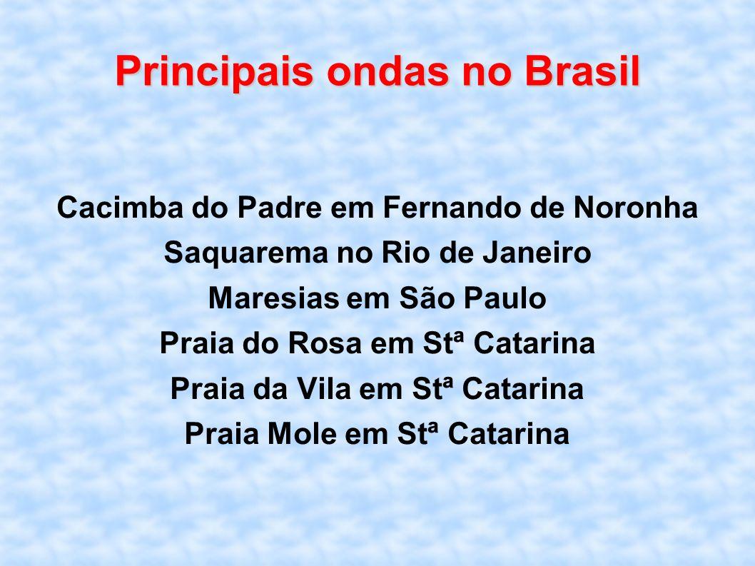 Principais ondas no Brasil Cacimba do Padre em Fernando de Noronha Saquarema no Rio de Janeiro Maresias em São Paulo Praia do Rosa em Stª Catarina Pra
