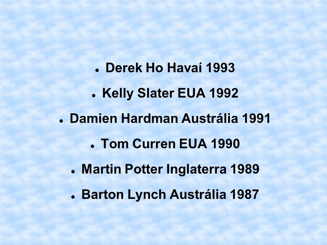 Derek Ho Havaí 1993 Kelly Slater EUA 1992 Damien Hardman Austrália 1991 Tom Curren EUA 1990 Martin Potter Inglaterra 1989 Barton Lynch Austrália 1987