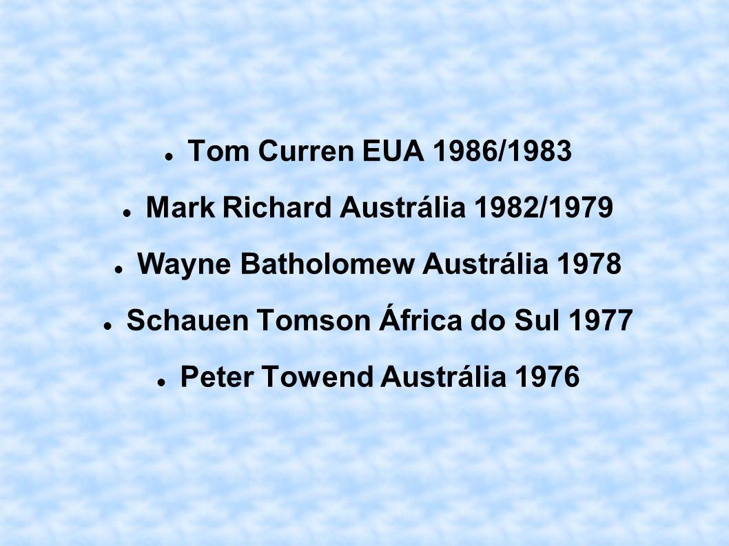 Tom Curren EUA 1986/1983 Mark Richard Austrália 1982/1979 Wayne Batholomew Austrália 1978 Schauen Tomson África do Sul 1977 Peter Towend Austrália 197