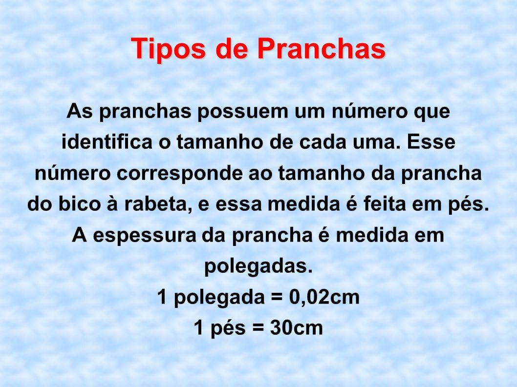 Tipos de Pranchas As pranchas possuem um número que identifica o tamanho de cada uma. Esse número corresponde ao tamanho da prancha do bico à rabeta,