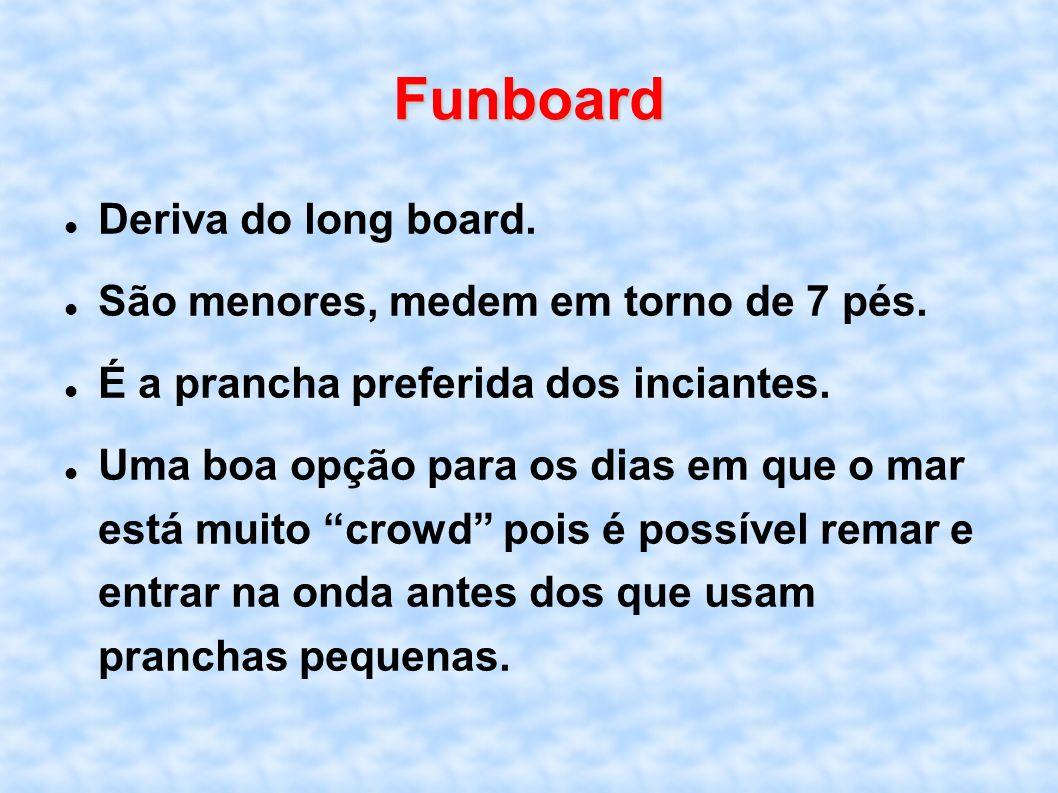 Funboard Deriva do long board. São menores, medem em torno de 7 pés. É a prancha preferida dos inciantes. Uma boa opção para os dias em que o mar está