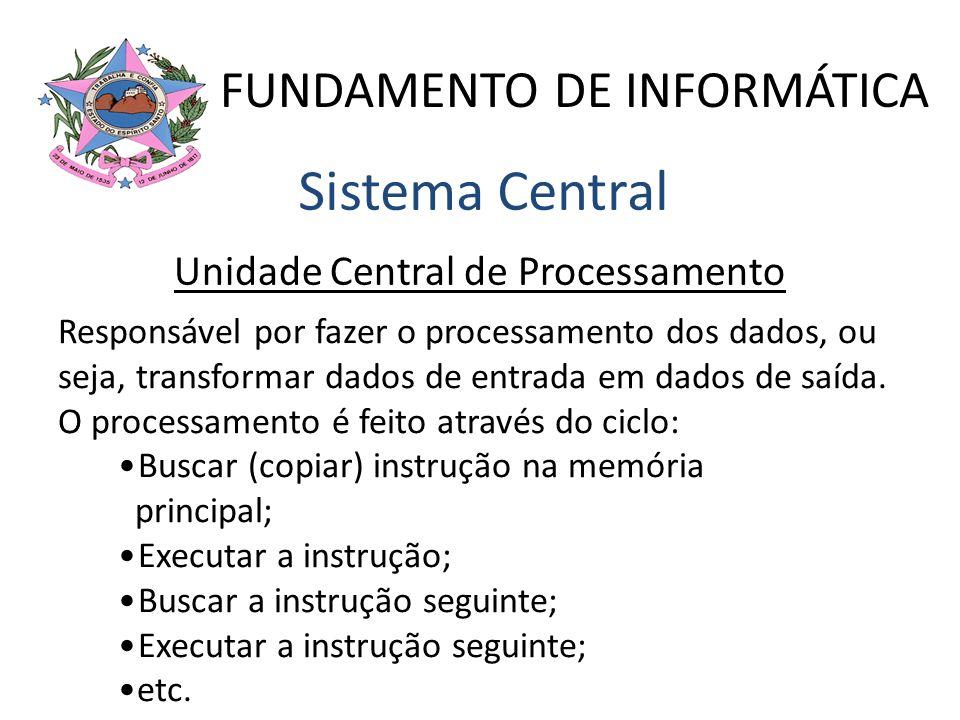 FUNDAMENTO DE INFORMÁTICA Sistema Central Unidade Central de Processamento Responsável por fazer o processamento dos dados, ou seja, transformar dados
