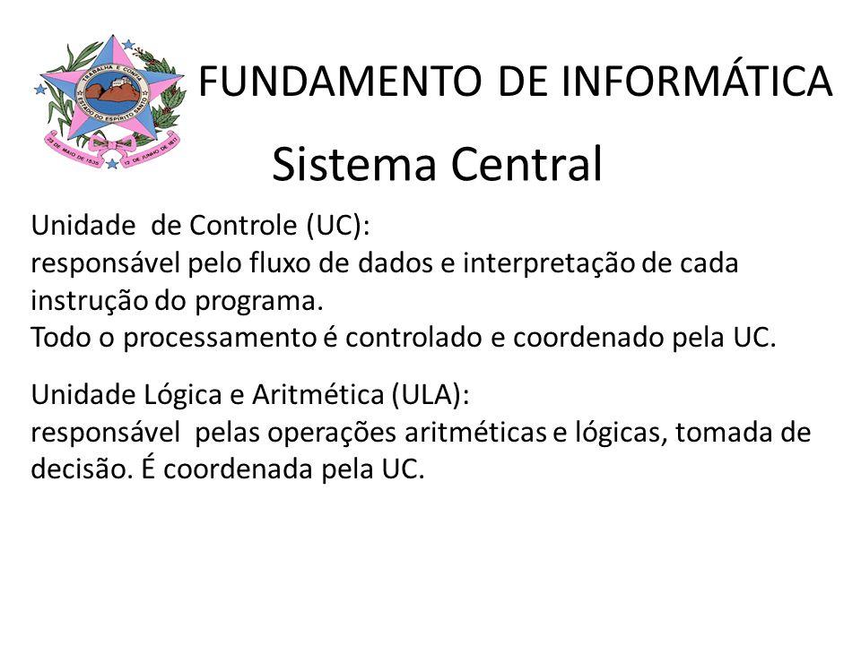 Unidade de Controle (UC): responsável pelo fluxo de dados e interpretação de cada instrução do programa. Todo o processamento é controlado e coordenad