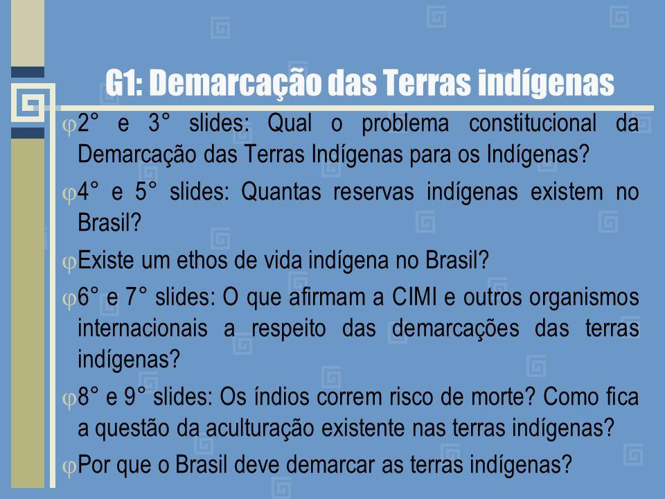 G1: Demarcação das Terras indígenas 2° e 3° slides: Qual o problema constitucional da Demarcação das Terras Indígenas para os Indígenas? 4° e 5° slide