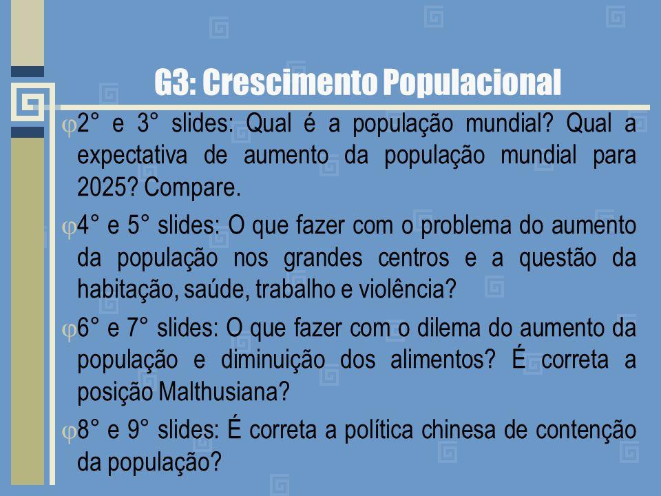 G3: Crescimento Populacional 2° e 3° slides: Qual é a população mundial? Qual a expectativa de aumento da população mundial para 2025? Compare. 4° e 5