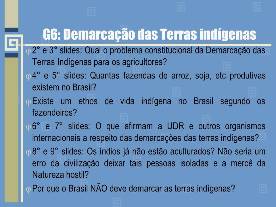 G6: Demarcação das Terras indígenas 2° e 3° slides: Qual o problema constitucional da Demarcação das Terras Indígenas para os agricultores? 4° e 5° sl