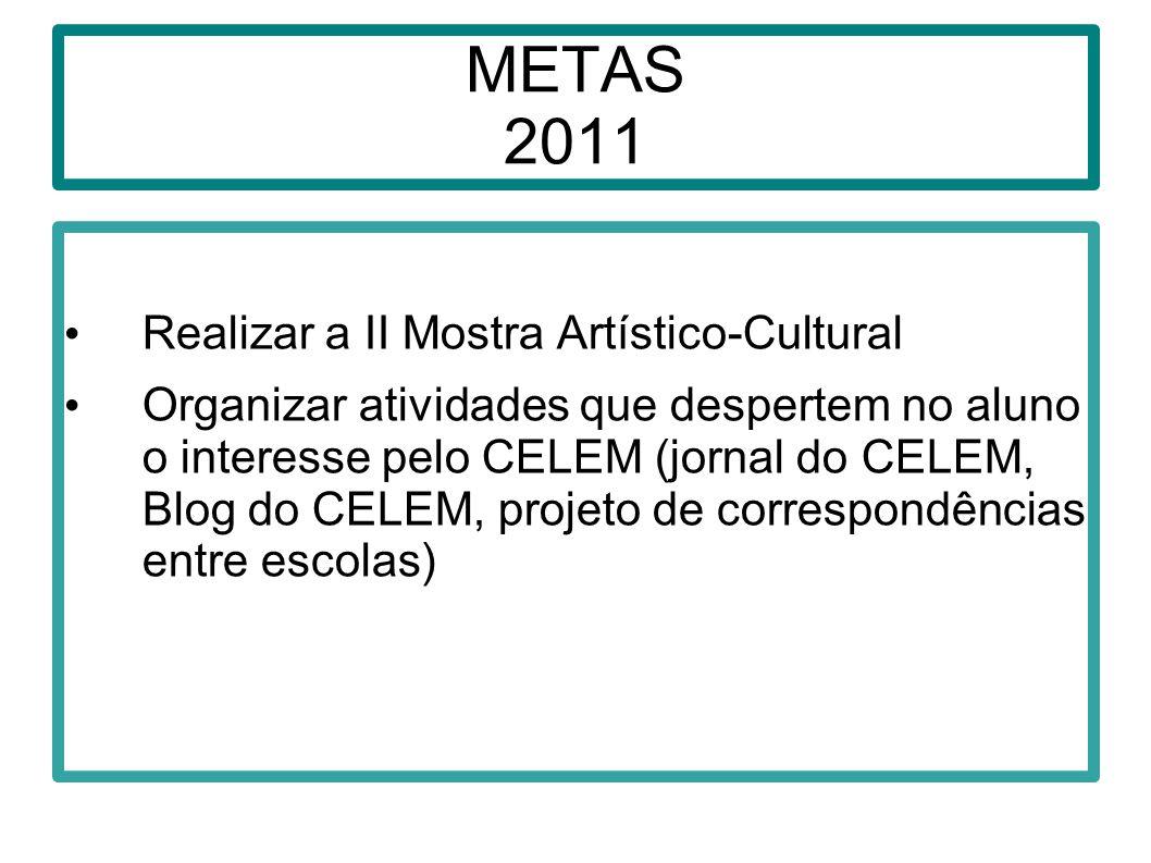 METAS 2011 Realizar a II Mostra Artístico-Cultural Organizar atividades que despertem no aluno o interesse pelo CELEM (jornal do CELEM, Blog do CELEM,