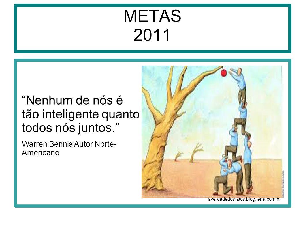 METAS 2011 averdadedosfatos.blog.terra.com.br Nenhum de nós é tão inteligente quanto todos nós juntos. Warren Bennis Autor Norte- Americano