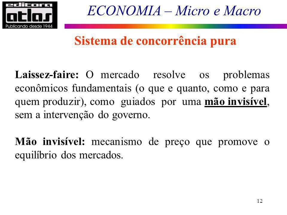 ECONOMIA – Micro e Macro 12 Sistema de concorrência pura Laissez-faire: O mercado resolve os problemas econômicos fundamentais (o que e quanto, como e