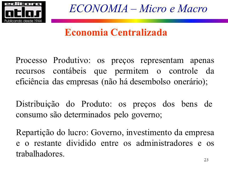ECONOMIA – Micro e Macro 23 Economia Centralizada Processo Produtivo: os preços representam apenas recursos contábeis que permitem o controle da efici