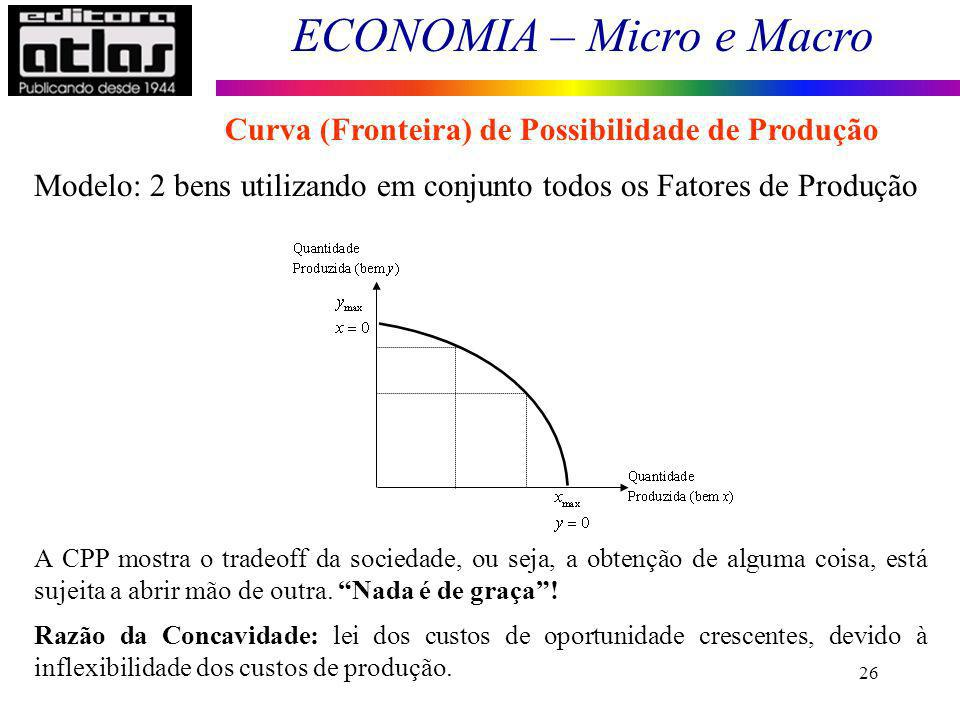 ECONOMIA – Micro e Macro 26 Modelo: 2 bens utilizando em conjunto todos os Fatores de Produção A CPP mostra o tradeoff da sociedade, ou seja, a obtenç