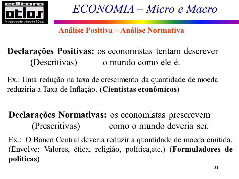 ECONOMIA – Micro e Macro 31 Análise Positiva – Análise Normativa Declarações Positivas: os economistas tentam descrever (Descritivas) o mundo como ele