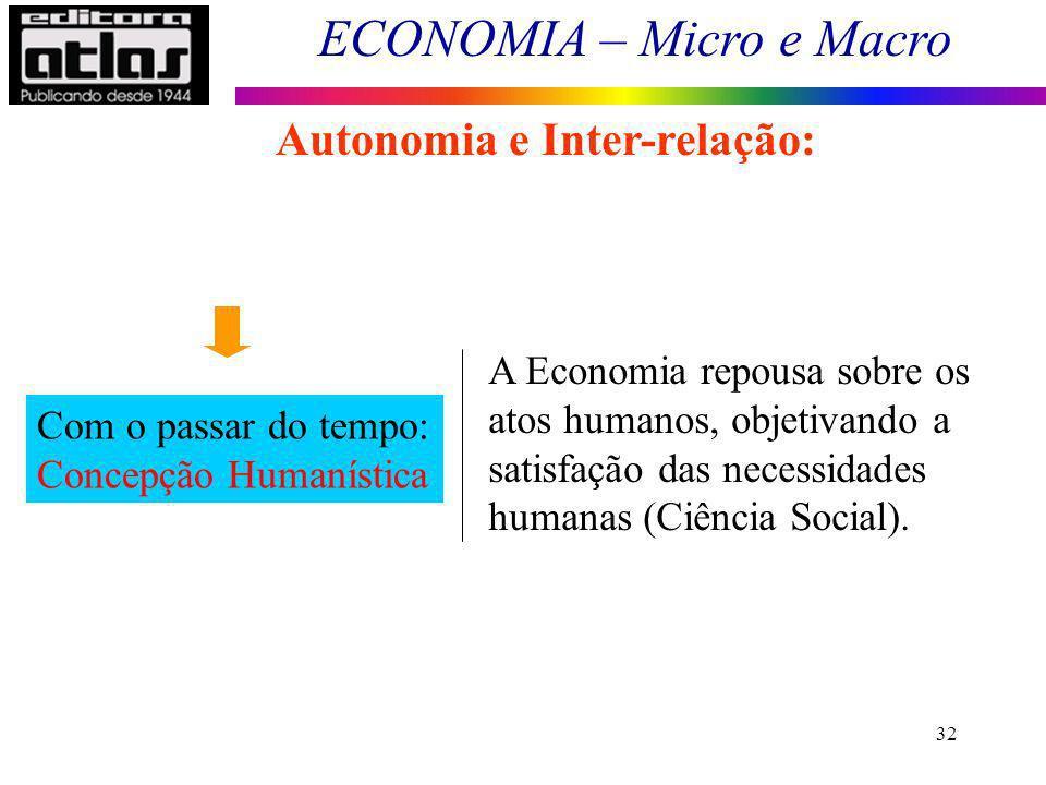 ECONOMIA – Micro e Macro 32 Autonomia e Inter-relação: Com o passar do tempo: Concepção Humanística A Economia repousa sobre os atos humanos, objetiva