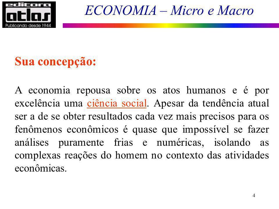 ECONOMIA – Micro e Macro 5 Conceito de Economia Deriva do grego: aquele que administra o lar.