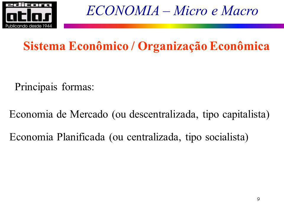 ECONOMIA – Micro e Macro 9 Sistema Econômico / Organização Econômica Principais formas: Economia de Mercado (ou descentralizada, tipo capitalista) Eco