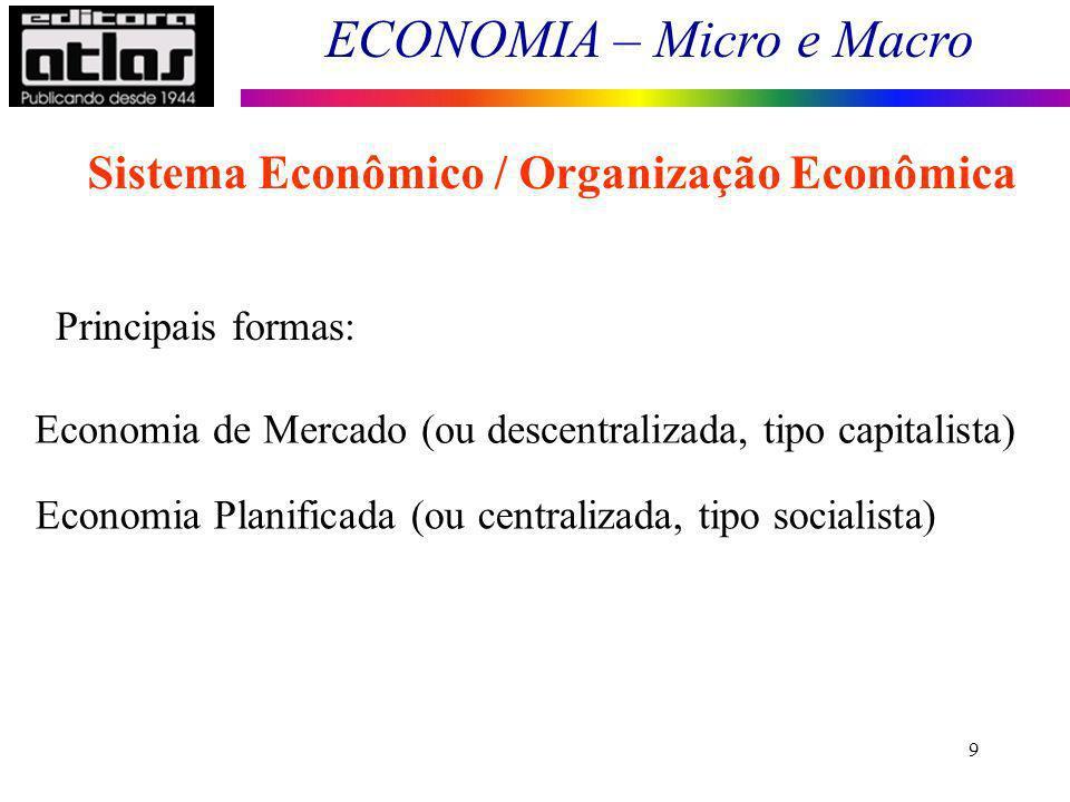 ECONOMIA – Micro e Macro 40 A Economia faz uso da lógica matemática e das probabilidades estatísticas.