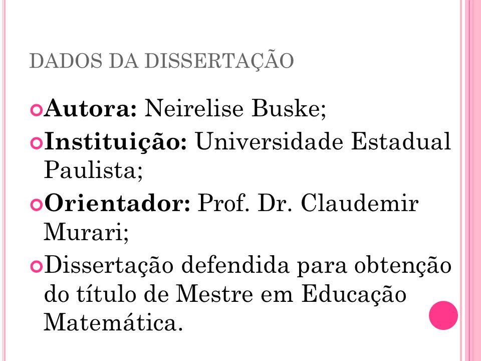 DADOS DA DISSERTAÇÃO Autora: Neirelise Buske; Instituição: Universidade Estadual Paulista; Orientador: Prof. Dr. Claudemir Murari; Dissertação defendi