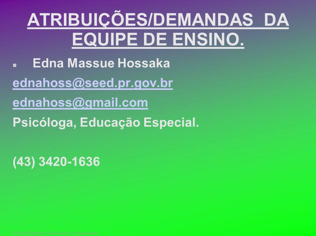 Núcleo Regional da Educação de Apucarana ATRIBUIÇÕES/DEMANDAS DA EQUIPE DE ENSINO. Edna Massue Hossaka ednahoss@seed.pr.gov.br ednahoss@gmail.com Psic