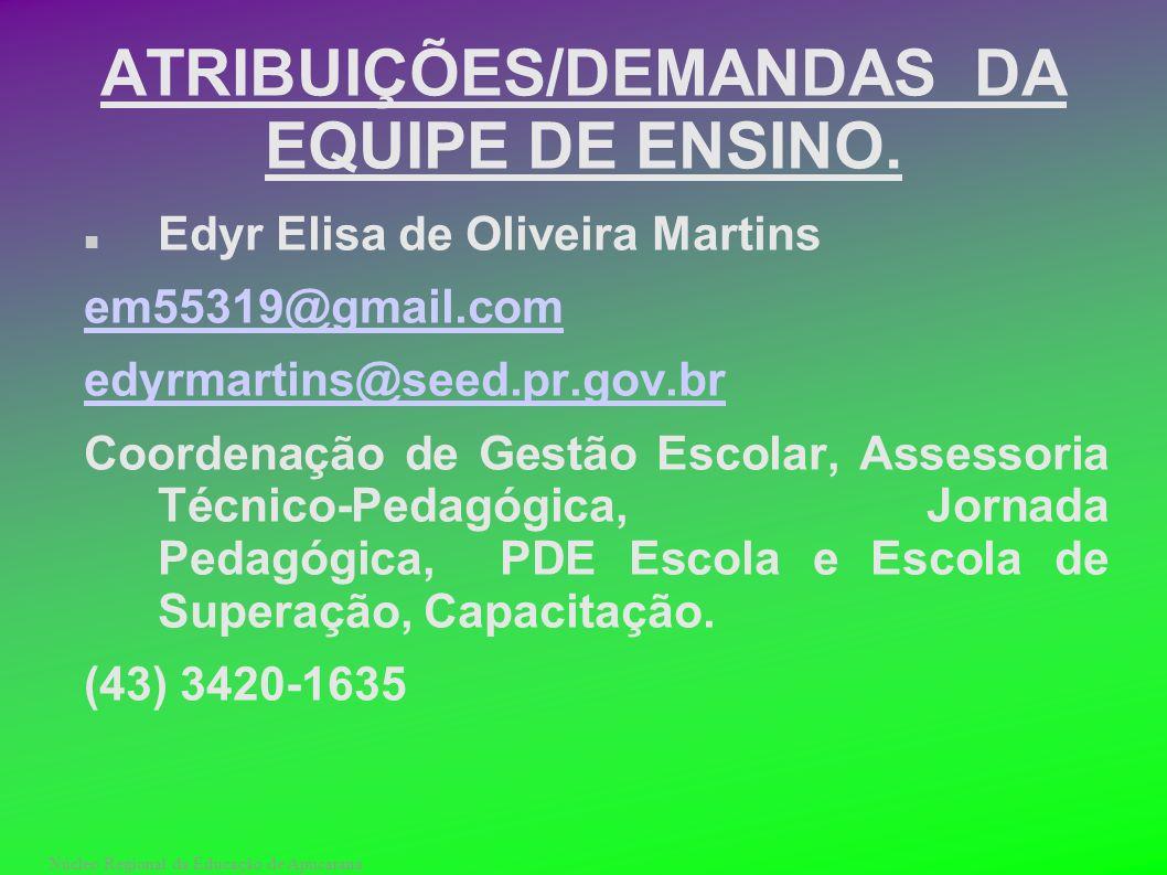 Núcleo Regional da Educação de Apucarana ATRIBUIÇÕES/DEMANDAS DA EQUIPE DE ENSINO. Edyr Elisa de Oliveira Martins em55319@gmail.com edyrmartins@seed.p